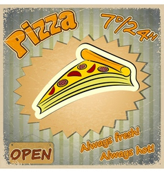 Vintage grunge card with a pizza menu vector
