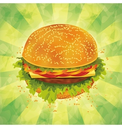 Tasty hamburger on grunge background vector