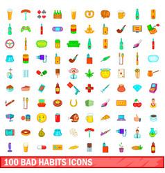 100 bad habits icons set cartoon style vector