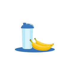 Health fresh food with sport water bottle food vector