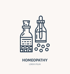 homeopathy line icon logo for alternative vector image
