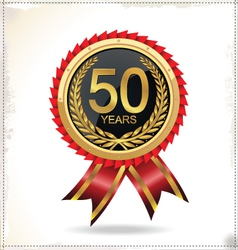 Anniversary golden label with ribbon vector