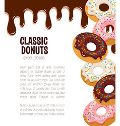 Poster for donut cakes and desserts vector