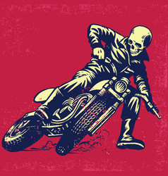 Hand drawing of skull riding a vintage motorcycle vector