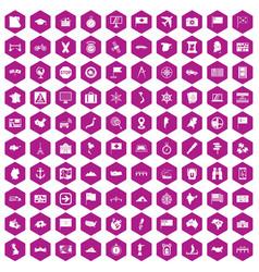 100 cartography icons hexagon violet vector