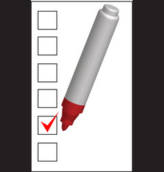 Checklist and red marker closeup vector