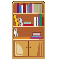 Books on wooden shelves vector
