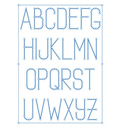 Light thin font type with nodes style alphabet vector
