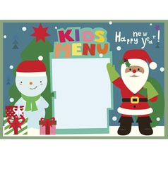 Kids menu a3 format winter holiday with santa and vector
