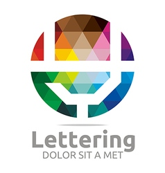 Logo abstract lettering y rainbow alphabet icon vector