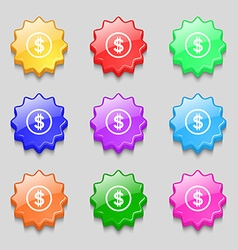 Dollar icon sign symbols on nine wavy colourful vector