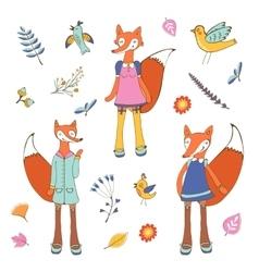 Stylish fox characters set vector image