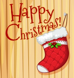 Happy christmas poster with sock vector