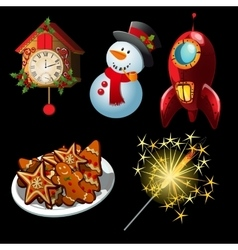 Cartoon set of holiday symbols and entertainment vector