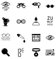 Set optometry isolated icons vector