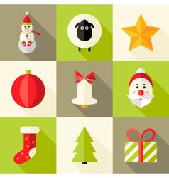 9 christmas flat icons set 8 vector