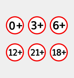 age limit icons set vector image vector image