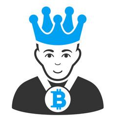 Bitcoin king flat icon vector