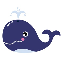 Cartoon blue whale isolated on white vector image vector image