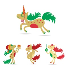 Christmas set of horses horse christmas vector