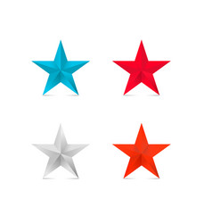 Coloder 3d stars red star blue silver bronze vector
