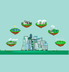 concept of alternative energy green power vector image vector image