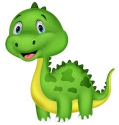 Cute green dinosaur cartoon vector image