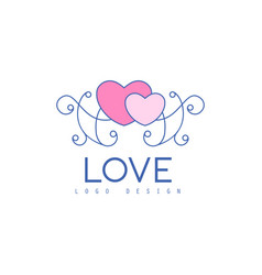 Cute line logo design with hearts and patterns vector