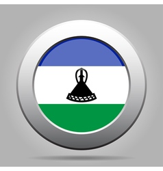 Flag of lesotho shiny metal gray round button vector