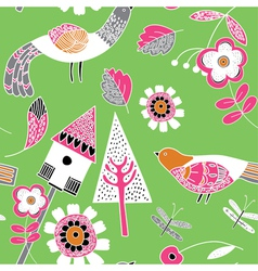 floral birds pattern vector image