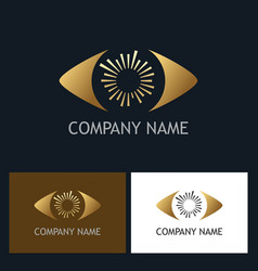 gold eye optic company logo vector image