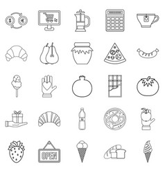 Hash house icons set outline style vector