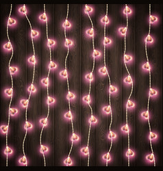 Heart shape lamp for decoration place on wooden vector