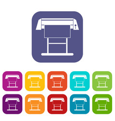 Large format inkjet printer icons set vector