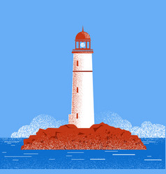 lighthouse seascape vector image vector image