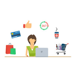 online shopping for woman - concept vector image vector image