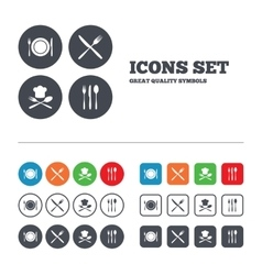 Plate dish with forks and knifes icon Chief hat vector image vector image
