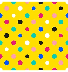 Rainbow colorful polka dot yellow background vector