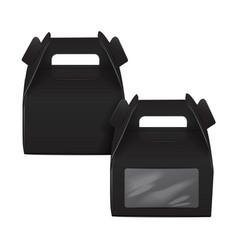 Realistic paper cake package set black box mock vector