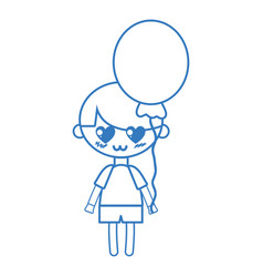 Silhouette cute boy with heart balloons and vector