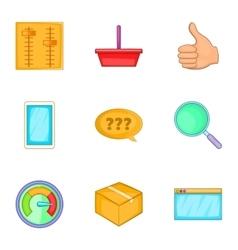 Start up company icons set cartoon style vector