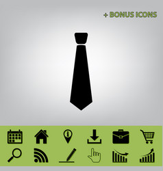 tie sign black icon at gray vector image