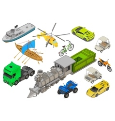 Vehicles set isometric flat vector