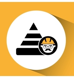 Construction man and cone warning graphic vector