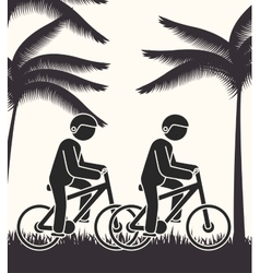 Cyclist person rural road background vector