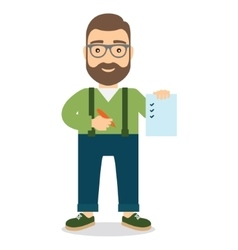 Man holds sheet of paper with list and pen in hand vector