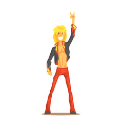 Rocker man showing rock and roll gesture rock vector