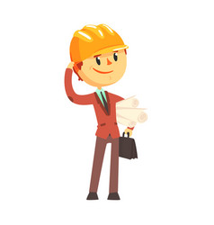 Architect builder in hard hat holding paper rolls vector