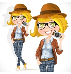 Hipster girl with a camera vector