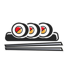 Sushi rolls on plate with chopsticks isolated vector